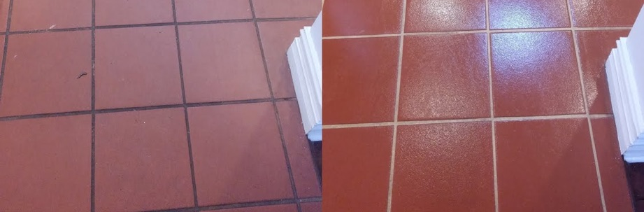 Another comparison of tiles and grout being cleaned